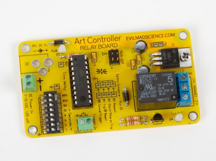 Evil Mad Science's clever Art Controller kit has a pre-configured ATtiny2313A microcontroller that controls a relay, allowing you to activate the relay on a schedule, or when a button or other trigger is tripped. All of this without having to learn programming or ever plug in the Controller to a computer. EMSL uses a series of DIP switches and jumpers to control timing and repetitions. This is just the ticket for aspiring kinetic artists (hence the name) who want to play without getting bogged down in technical matters. —John Baichtal