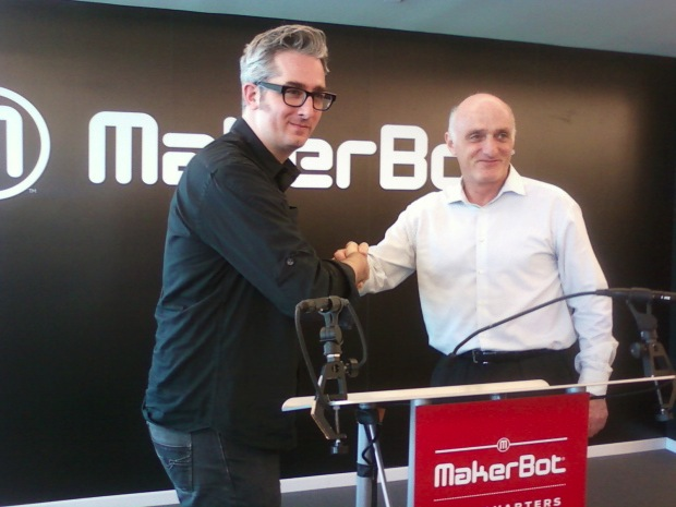In June, 3D printing giant Stratasys announced that it was buying maker-focused, consumer 3D printing firm MakerBot for $403 million. That's MakerBot co-founder and CEO Bre Pettis, left, shaking hands with Stratasys CEO David Reis.  The deal was the first high-profile example of a traditional manufacturing company buying a funky, consumer-facing maker brand.