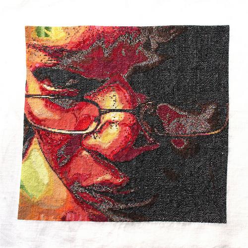 Beautiful, Insanely Detailed Cross-Stitch Self-Portrait