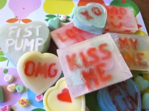 """Make cute, custom conversation heart soap with this fun tutorial from Sonya Nimri. She says: """"This Valentine's Day, get creative with the ever so useful and practical gift of soap. Not just any soap (because that would be plain boring) but soap displaying a special message for your love."""""""