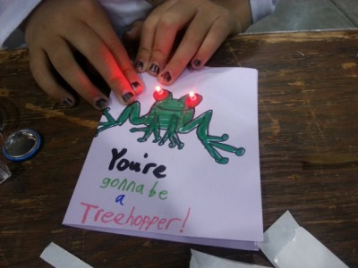 TheTapeTricity Card, from MAKE pal Chris Connors, is a great first electronics project for kidswho want to make an extra special Valentine's Day card.