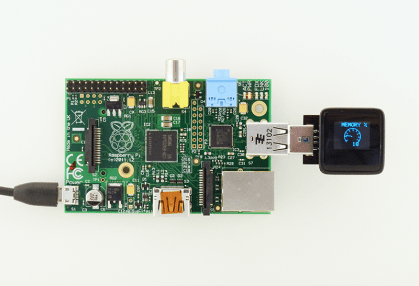 The MicroView plugged into a Raspberry Pi showing the CPU load.