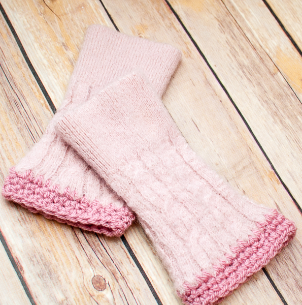 How-To: Upcycled Sweater Wrist Warmers with Crocheted Trim