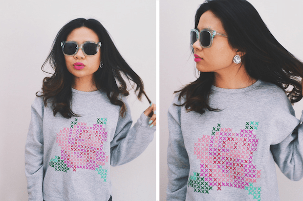 How-To: Faux Cross-Stitch Rose Sweatshirt