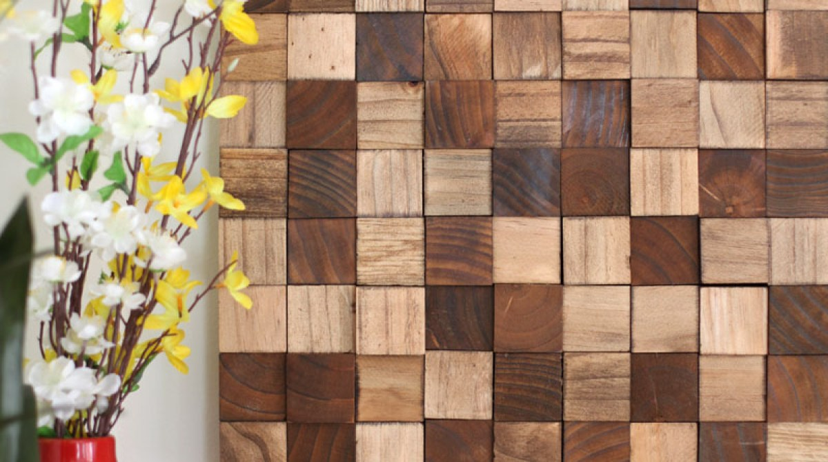 Wood Block Wall Wooden Mosaic Wall Art  Make