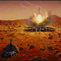 This artist's concept shows the Mars Sample Return lander and its return capsule. Image credit: NASA