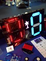 Las Vegas Mini Maker Faire sponsor Pololu built this seven segment RGB LED scoreboard to keep score for office competitions.