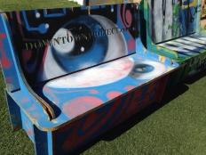The Downtown Project is revitalizing downtown Las Vegas - including art on buildings, and even these fun benches.