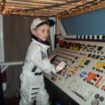 The simulated spaceship panel Jeremiah Gorman built for his son's fifth birthday from scrap broadcast equipment.