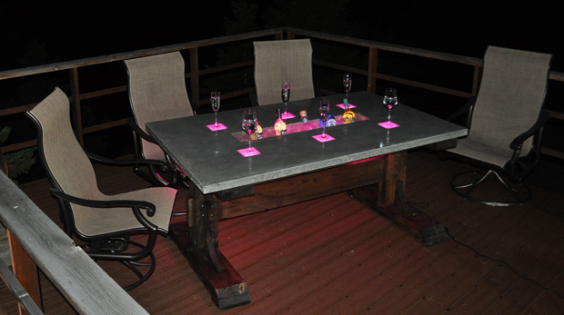Concrete Table Lights And Beer Trough