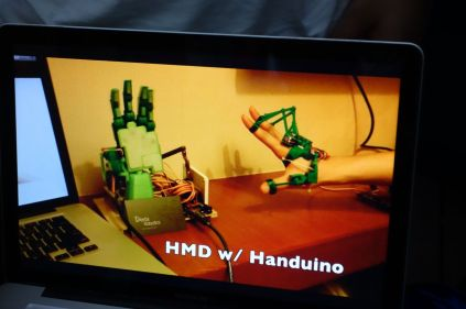 Handuino is the name of project for a remote controlled hands.