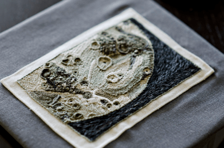Rachel Hobson's incredible moon embroidery, which won the Etsy/NASA craft contest and was flown to space.