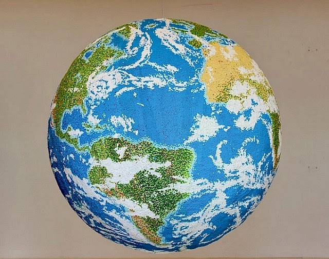 Globe Made From Painted Matchsticks