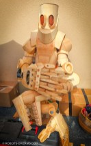 """This wooden robot sculpture was huge - taller than me, and I'm 6'7""""."""