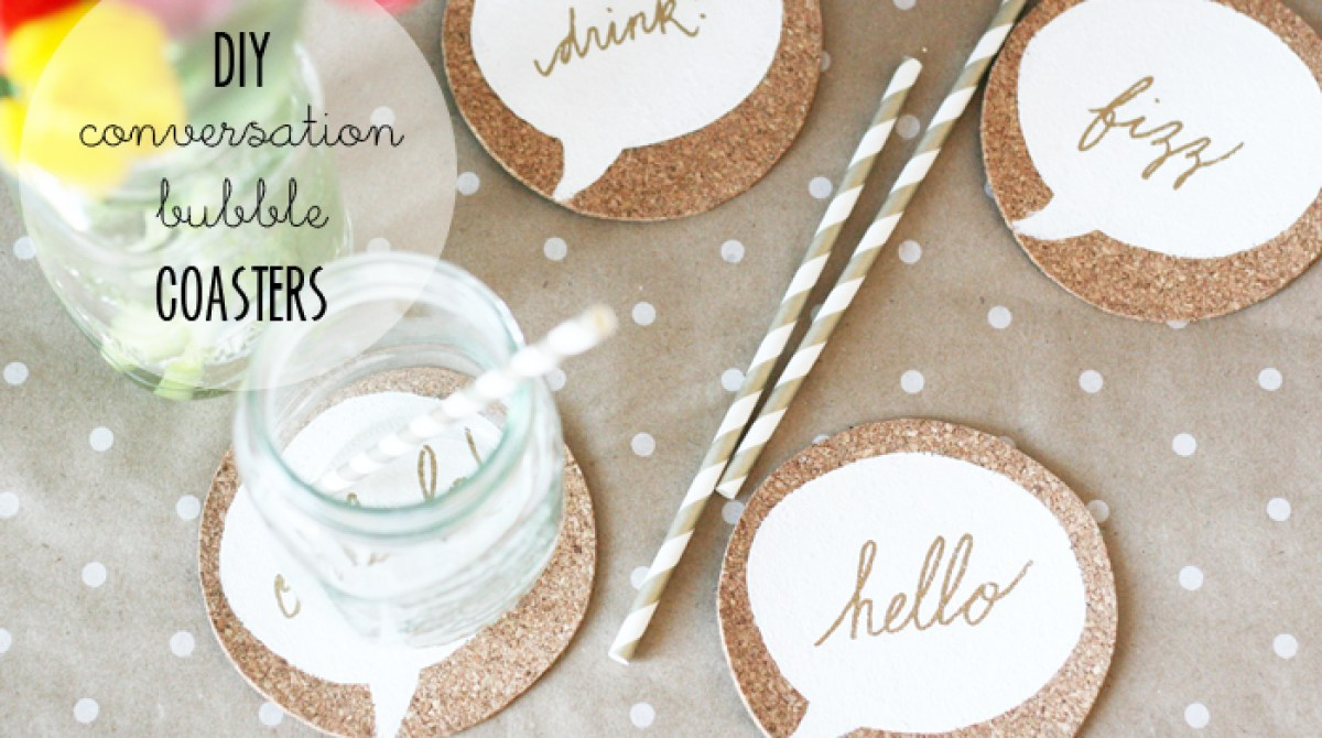 How-To: Cork Conversation Bubble Coasters