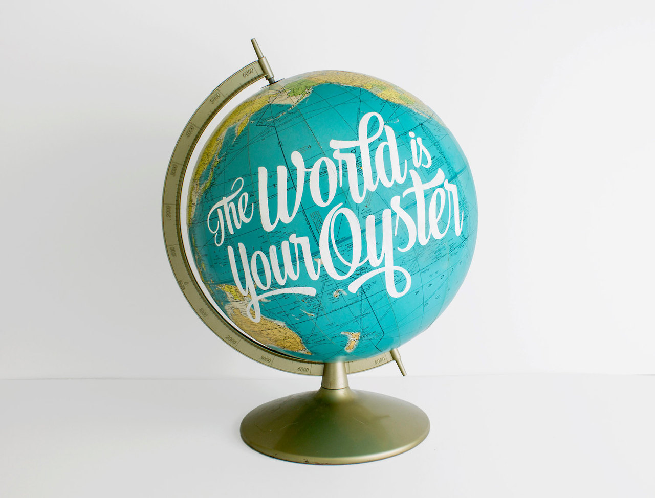 Vintage Globes With Hand-Lettered Quotes