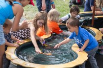 Kids build their own boats and sail them down the Play River built by Gregory Gavin.