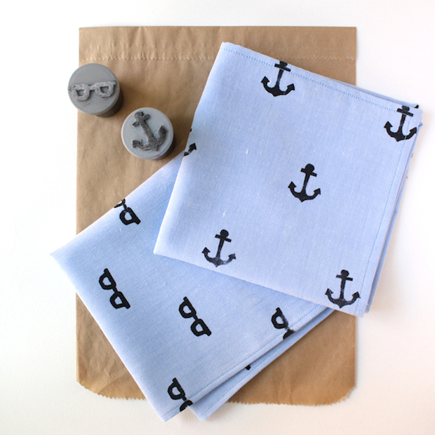 Father's Day Project: Hand-Stamped Handkerchief