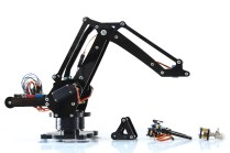 """ufactory.cc Billed as """"a miniature industrial robot arm on your desk,"""" the uArm is based on ABB's IRB 460 high-speed """"palletizer."""" The design concentrates mass in the base, allowing the arm to move quickly. Spectacularly overfunded on Kickstarter in March, uArm can be preordered now and is expected to ship in June."""