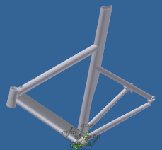 The model in Inventor was crucial to the development of the design, as it allowed me to analyze clearance issues (i.e., crank and chainring clearance with the chainstays). I was also able to use the tubing profiles to create NC programs for tube mitering and milling of the dropouts and head tube, for example.