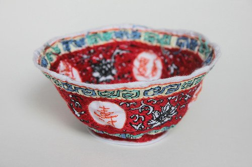 Chinese Bowl Made From Embroidered Muslin
