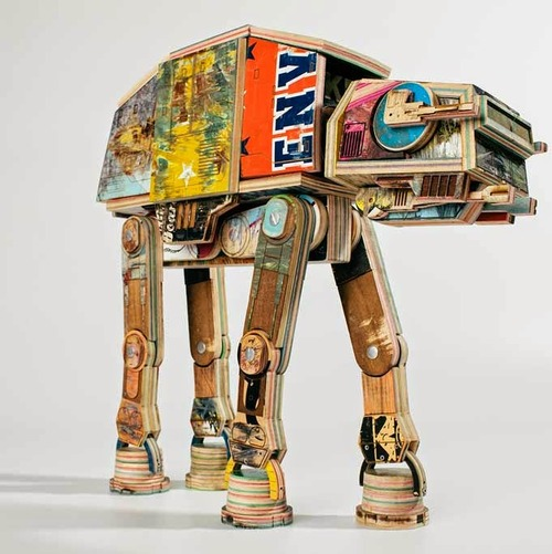 AT-AT Sculpture Made From Reclaimed Skateboards