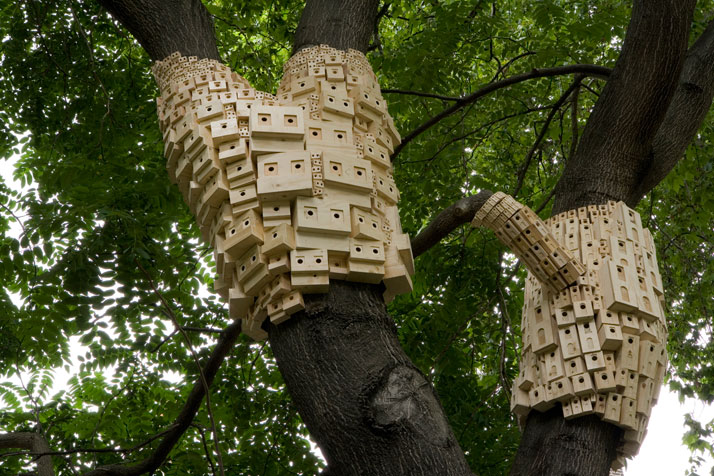 Urban Birdhouse Art Installation