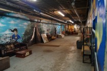 Hallway with band practice rooms in the recycling center