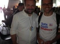 Arduino Project's Massimo Banzi with a local BCN fan sporting a Barcelona Mini Maker Faire tshirt