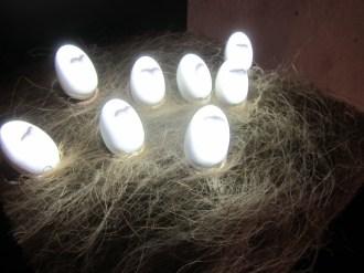 Artist Nestor Lizalde's creepy yammering eggs installation (video database + algorithm + projection + sculpture)