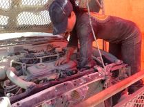 DPW (Department of Public Works) vehicle repair at the metal shop