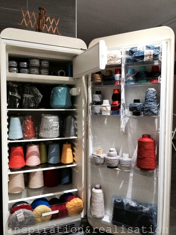 Refrigerator Repurposed as Yarn Storage