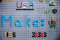 Makers left their heartfelt messages at the LEGO Mindstorms exhibit.