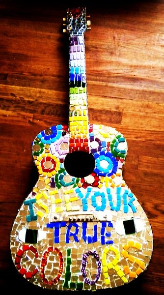 Guitar Customized With A Mosaic of Cindy Lauper Lyrics