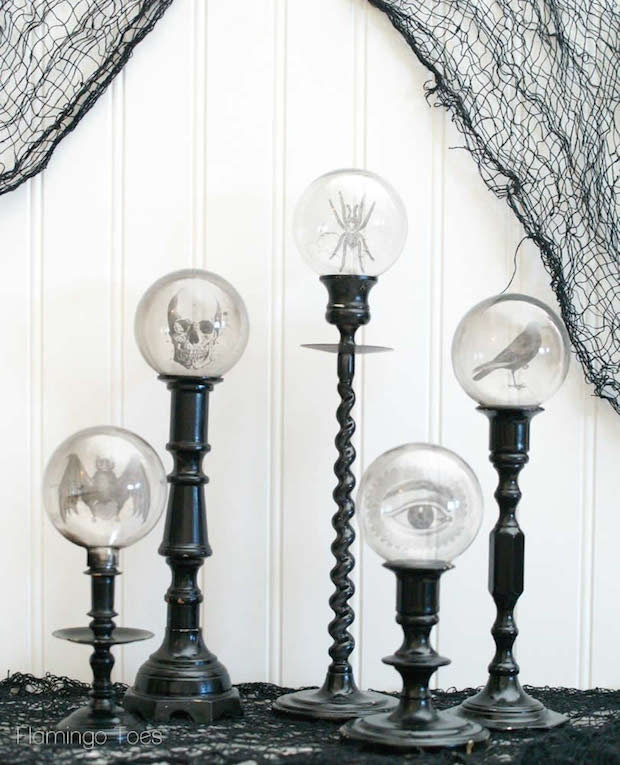 How-To: Spooky Crystal Ball Candlesticks