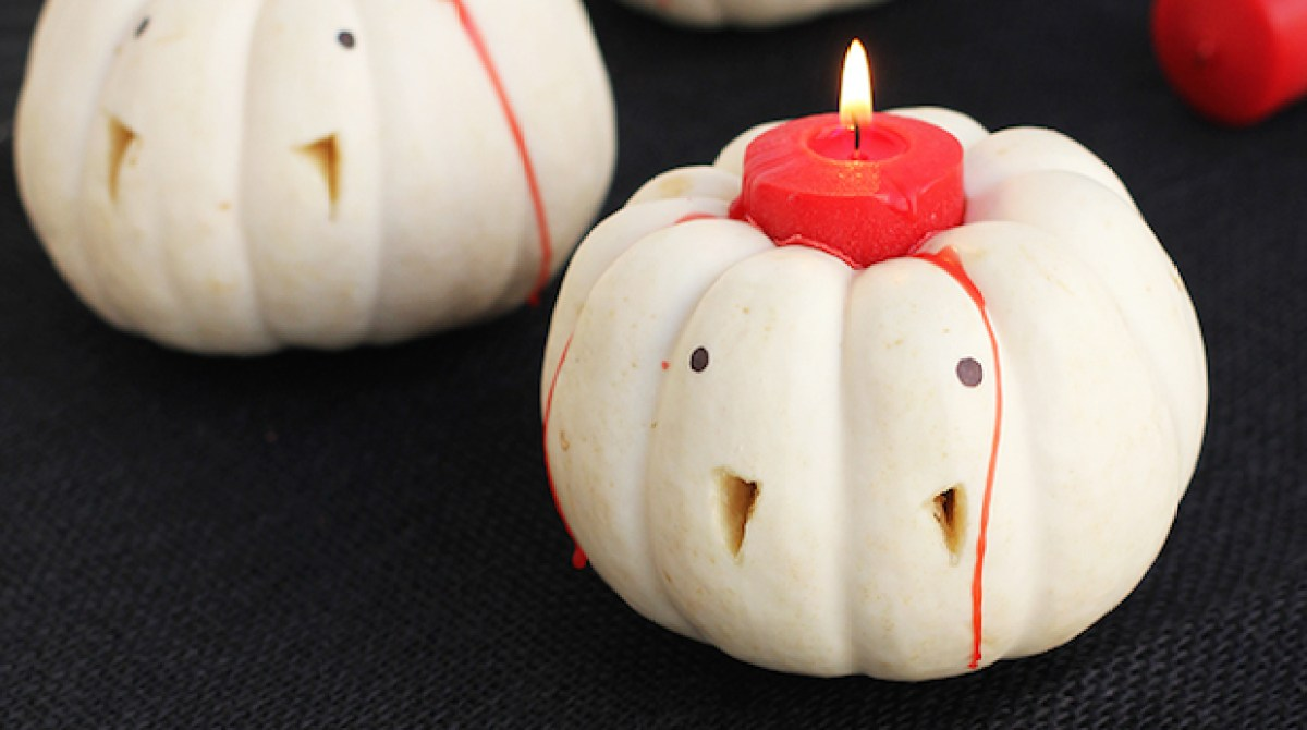 How-To: Vampire Pumpkin Candles