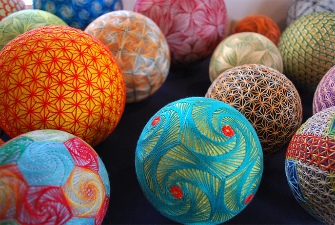 Gorgeous Traditional Temari, Embroiedered By a 92 Year Old Woman