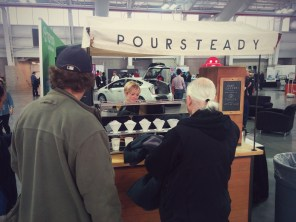Poursteady - a World Maker Faire favorite - were giving out free coffee to attendees.