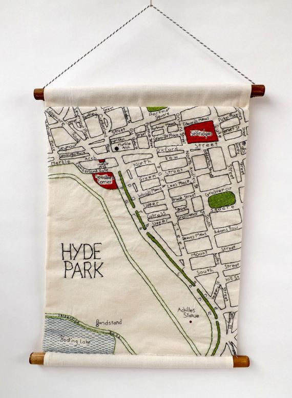 Hand Embroidered Maps of London Neighborhoods