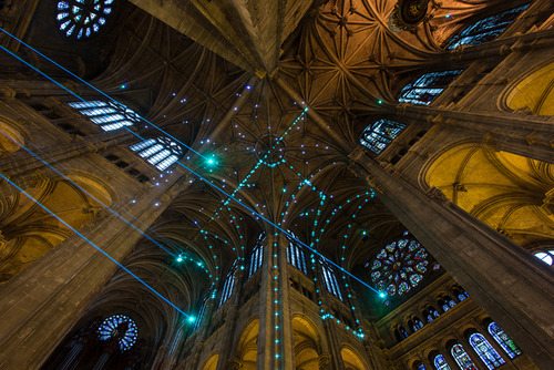 Laser Show Lights Up Gothic Church In Paris