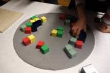 Audio output depends on the quantity and location of wooden blocks on the felt play surface.