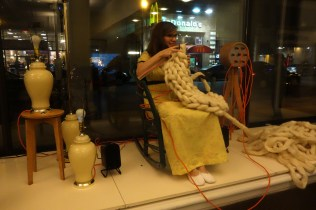"""An interactive musical """"living room"""" where the rocking of the chair, the lamps, and the oversized felting needles all provide input to the final beat."""