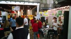 School teams showing their robots and creations.