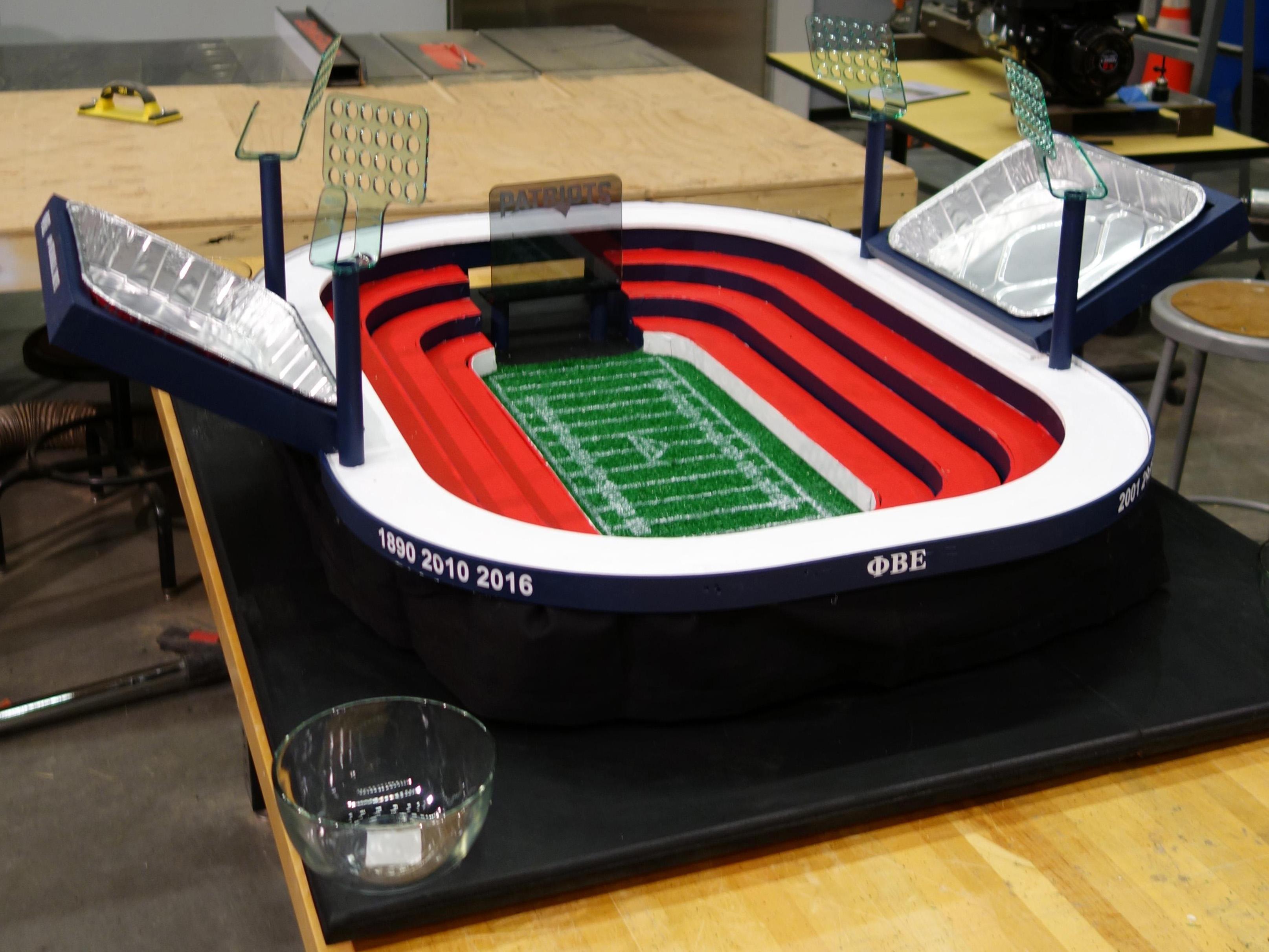 Pats Fan Builds Mini Stadium for Super Bowl Spread