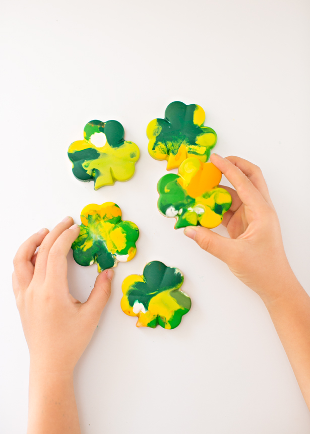 Kid Crafts: St. Patrick's Day Shamrock Crayons