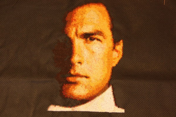 Steven Seagal Captured in Cross Stitched Embroidery Portrait