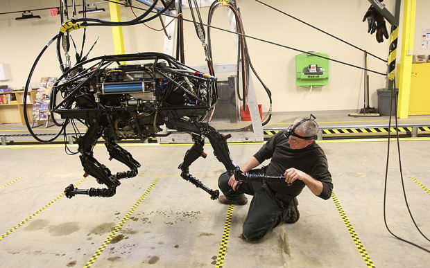 Early development of Boston Dynamics' BigDog, which is jam-packed with sensors in order to move easily through harsh environments.
