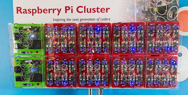The GCHQ Bramble Cluster made up of 8 OctiPi clusters and 2 control nodes.