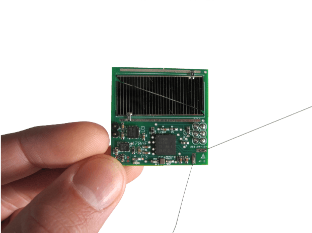 """One of the many Sprite spacecraft that were launched onboard Kicksat. The Sprite is a """"chipsat"""", a proof of concept design the shrinks an entire satellite down onto a single chip."""