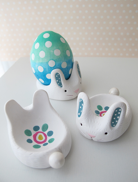 Egg Cup Bunnies Made from Polymer Clay
